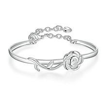 BEMI Romantic 925 Silver Rose Butterfly Charm Bangle Bracelet Statement ... - $10.15