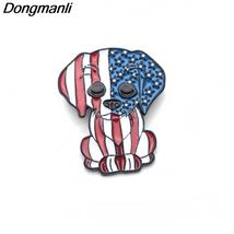 American flag dog Metal Enamel Pins and Brooches for Women Men Lapel Pin backpac - $10.99