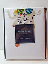 "Cynthia Rowley Fabric Shower Curtain Decorated Elephant 72"" x 72"" New - $53.00"