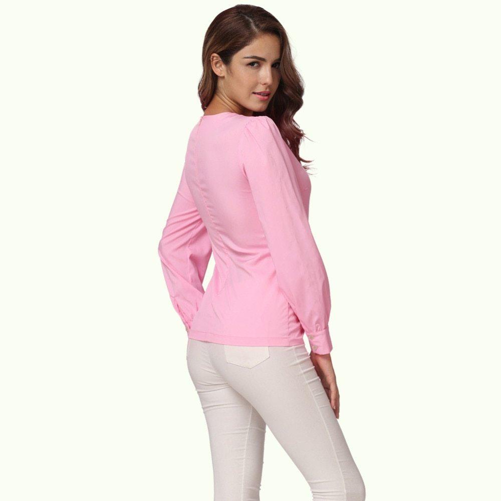 Women Ruffles Pocket Blouse Long Sleeve Puff O Neck Back Zipper Pink Shirt Tops