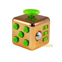 GOLD Green Fidget Cube Toy Anxiety Stress Relief Focus Attention Work Pu... - $6.99