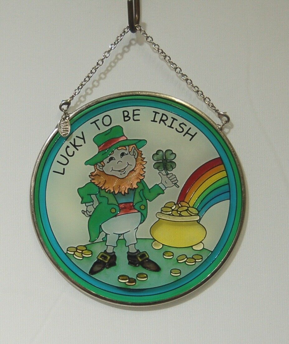 Amia Lucky To Be Irish Round Leprechaun Pot of Gold Rainbow Sun Catcher