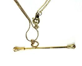Vintage Baton Necklace Gold Tone Necklace Baton Twirling ~ New Old Stock - $7.00