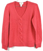 Talbots Cashmere Wool Blend Sweater V Neck Women's M Twist Front Pink Italy - $24.99
