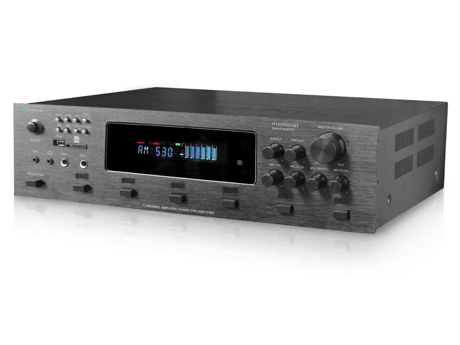 Technical Pro H12X500BT 6000w Amplifier / Preamp/ Tuner w/ 12 Speaker+Microphone