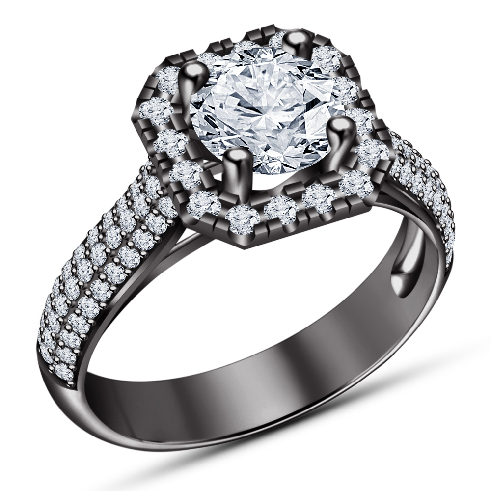 Round Cut White CZ 14k Black Gold Plated 925 Silver Solitaire With Accents Ring