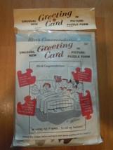 Vintage Unusual Greeting Card in Picture Puzzle Birth Congratulations Ca... - $6.99