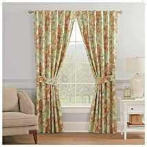 Waverly Spring Bling Vapor Curtain Panel w Tieback 100% Cotton Floral 52x63 - $29.69