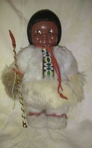 INDIEN ART DOLL INUIT ESKIMO W/ SPEAR - $19.75
