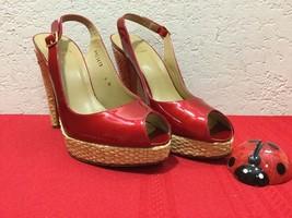Stuart Weitzman Red Patent Leather Pumps Straw Heels Platform Sz 8 Open Toe - $50.00
