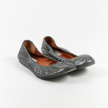 Lanvin Silver Black Embossed Leather Round Toe Ruched Ballet Flats SZ 39 - $160.00