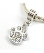 White Clear Paw Print Crystal Dangle Slider Bead for European Charm Brac... - $8.99