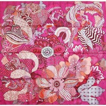 Hermes Scarf Stole FLEURS DINDIENNES Aline Honore Pink Floral Silk Auth ... - $12.474,69 MXN