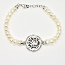 925 silver bangle with pearls freshwater Cameo Cameo Cubic Zirconium image 2