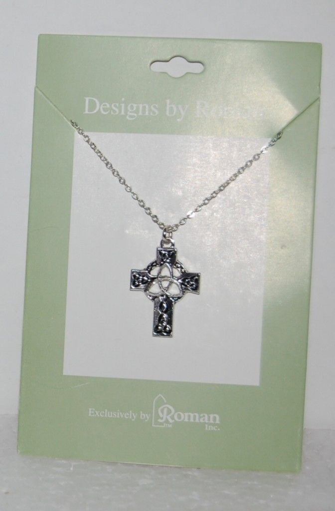 Roman Inc 60082 Celtic Cross Necklace Trinity Knot Center