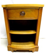 Vtg Mid Century Drexel Blonde Maple Night Stand with Book Case Two Shelf... - $148.45