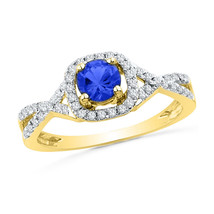 10k Yellow Gold Round Lab-Created Blue Sapphire Solitaire Diamond Ring 1... - £190.83 GBP