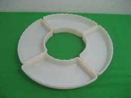 Vintage Milk Glass Dish Four Individual Compartments Scalloped Edge Serv... - $18.65