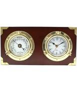 Bey-Berk Porthole Clock & Barometer on Teak Wood - $189.95