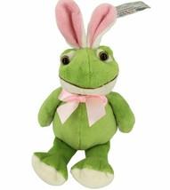 "Green Frog With Pink Bunny Rabbit Ears stuffed animal plush 7.5"" Plushland  - $4.99"