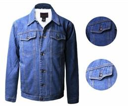 Maximos USA Men's Premium Denim Fur Trucker Jean Sherpa Lined Button Up Jacket
