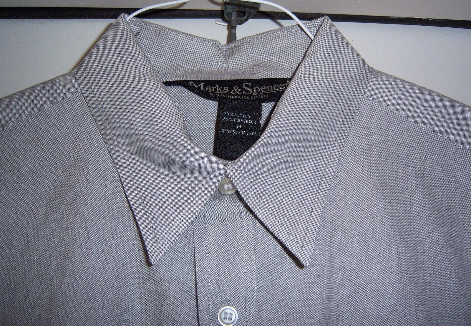 MARKS AND SPENCER Oxford Style Shirt Cotton blend L/S Gray Men's M image 3