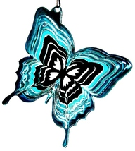 3 in stainless steel teal butterfly USA 3D hanging garden wind spinner, spinners - $9.00