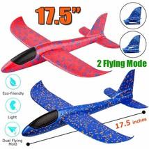"2 Pack Airplane Toy, 17.5"" Large Throwing Foam Plane, Dual Flight Mode, - $13.06"