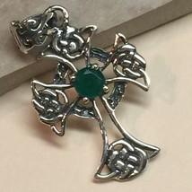 Genuine  Emerald 925 Solid Sterling Silver Celtic Cross Pendant 35mm Long - $59.39