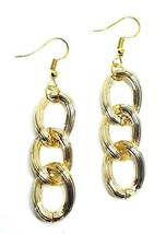 Womens Chain Earrings Thick Chunky Gold Big Chain Link Dangle Drop Boho Ribbed - $6.65