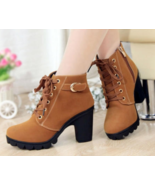 99b151 Lace ip Martin booies, size 5-9.5, brown - $42.80