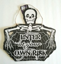 Halloween Enter at your own Risk Wall Hanging Plaque Sign Holiday Decor ... - $12.19