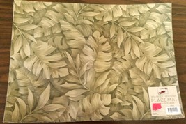 "Set Of 3 Linen Fabric Spillproof Reversible Placemats 13""x18"", Large Palm Leaves - $13.85"