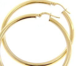 18K YELLOW GOLD ROUND CIRCLE EARRINGS DIAMETER 40 MM, WIDTH 3 MM, MADE IN ITALY image 1