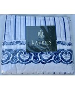 NEW Ralph Lauren Porcelain Jonquil Twin Flat Sheet Blue White Stripe w S... - $50.00