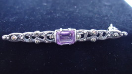 Vintage Sterling Bar Pin with Marcasites And Synthetic Amethyst  - $22.00