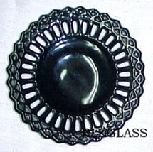 Ebony Black Glass Gothic 5.5 inch Border Plate, Diamond And Spoke, Small - $23.99