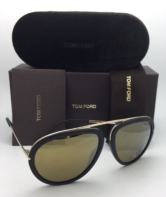 f69ca6aa50a3 New TOM FORD Sunglasses STACY TF 452 02G 57-16 Matte Black-Gold Aviator