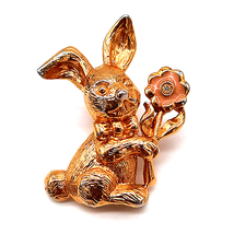 Vintage Honey Bunny Avon Easter Bunny Rabbit Gold Enamel 1992 Pin Brooch - $9.00