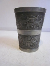 VINTAGE SOLID PEWTER B & M GERMAN DRINKING CUP MEN FARMING W/ANIMALS - $9.99