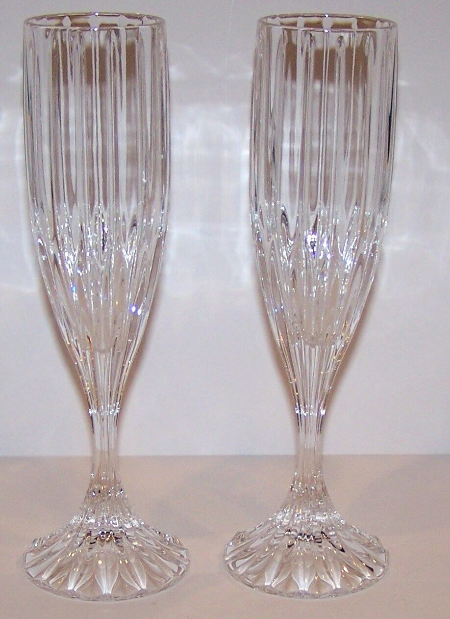 "Primary image for STUNNING PAIR OF MIKASA CRYSTAL PARK LANE 8 5/8"" CHAMPAGNE FLUTES"