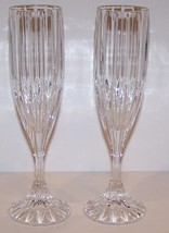 "STUNNING PAIR OF MIKASA CRYSTAL PARK LANE 8 5/8"" CHAMPAGNE FLUTES - $31.13"