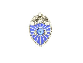 Police Badge Blue Crystal Charm Only Jewelry Assembly Beads Craft Supplies - $7.82