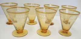 Seven Amber & Gold Needle Etched Sherbet Canape - $37.99