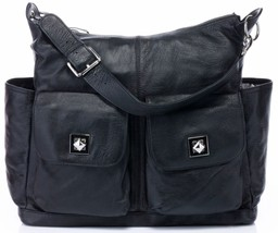 New Black Pebbled Italian Leather Diaper Bag Mommy Baby Bag Tote Handbag - $148.45