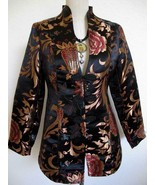 Soft Surroundings Moon Dynasty Asian Brocade Jacket XS Frog Closures Silky - $39.99