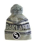 Oakland CA Patch Fade Out Cuffed Knit Winter Pom Beanie Hat (Gray/Black) - $11.95