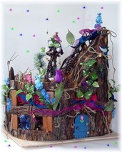 OOAK Fairy doll House Furnished Stump Towers by Dollocity - £493.50 GBP