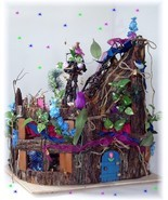 OOAK Fairy doll House Furnished Stump Towers by Dollocity - £506.62 GBP