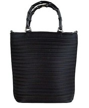 Auth GUCCI Black Nylon & Patent Leather Bamboo Handle 2 Way Shoulder Han... - $157.41